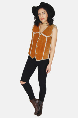 One More Chance Vintage - Vintage Country Livin' Sherpa Suede Leather Vest