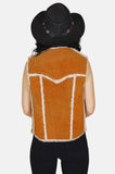 Country Livin' Sherpa Suede Leather Vest