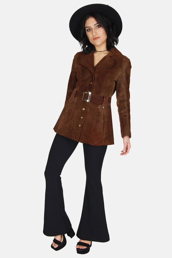 One More Chance Boutique - Vintage Adeline Suede Leather Trench Jacket