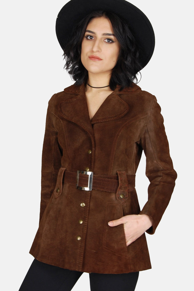 One More Chance Vintage - Vintage Adeline Suede Leather Trench Jacket