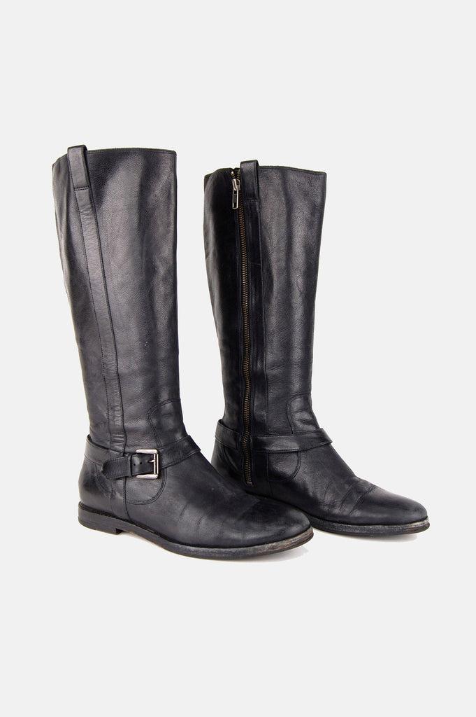 One More Chance Boutique - Vintage Hit The Road Buckled Leather Riding Boots