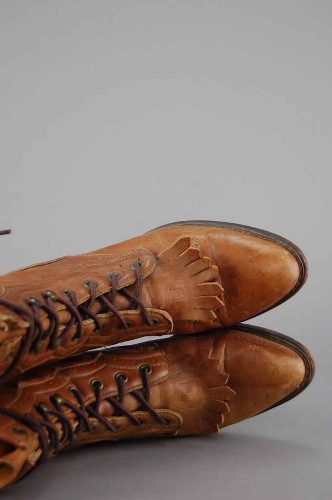 Durango Faded Leather Lace Up Logger Boots