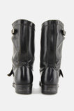 Midnight Rider Buckled Leather Biker Boots