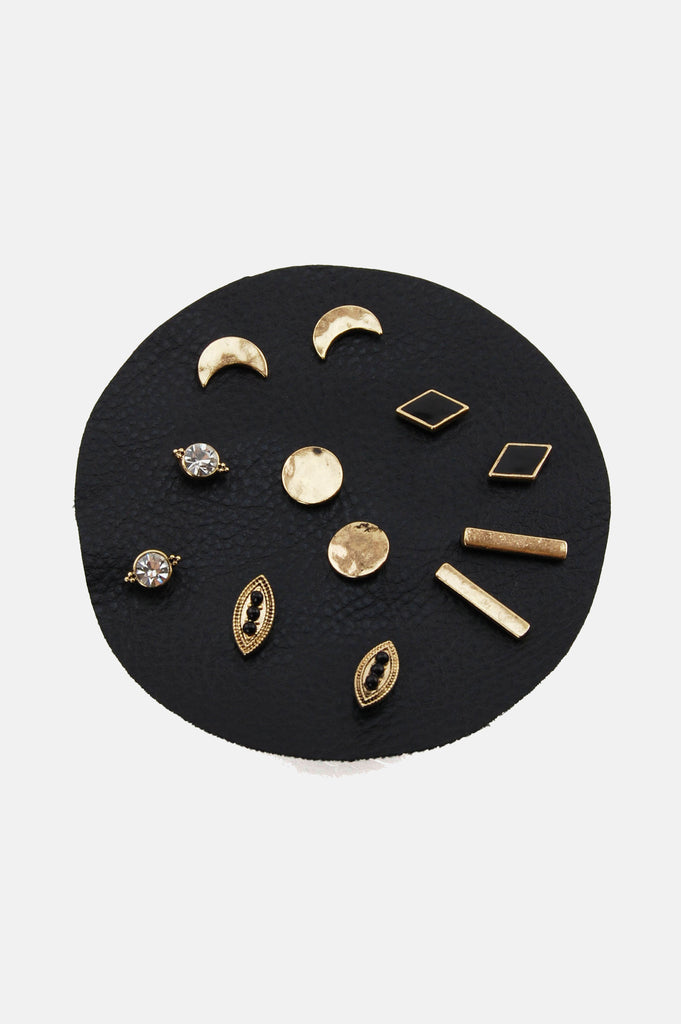 One More Chance Boutique - Gold Dust Woman Stud Earrings Set of 6