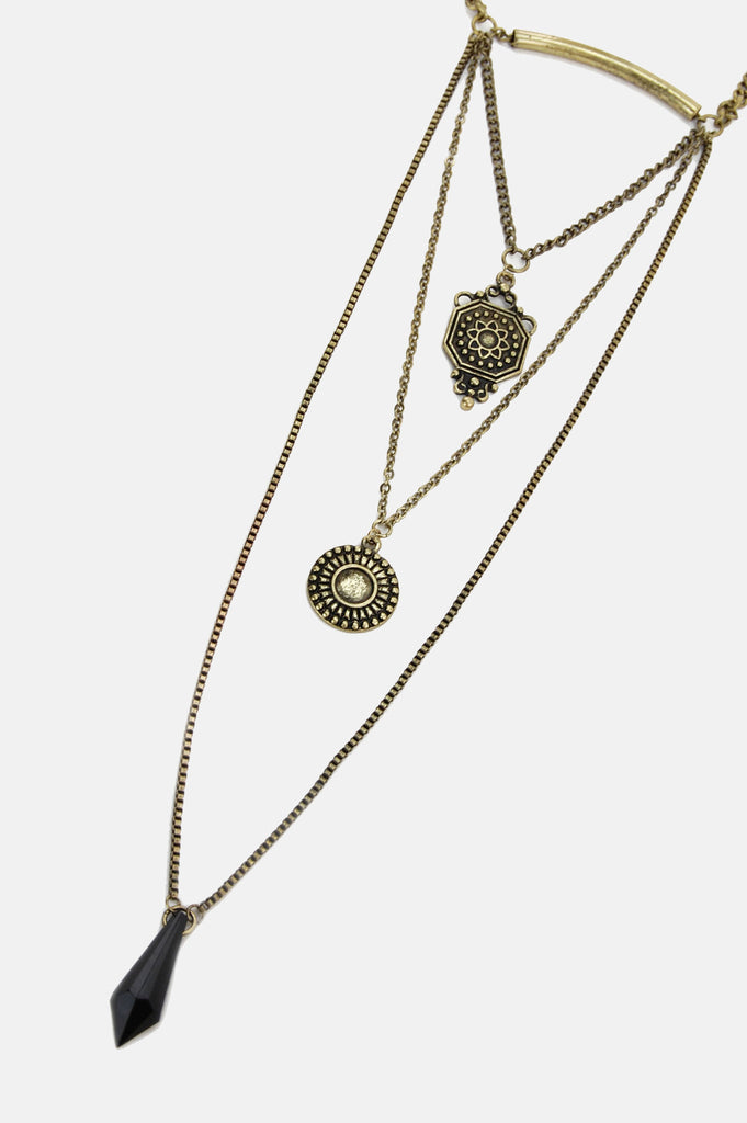 One More Chance Boutique - Black Jeweled Triple Layer Necklace in Gold