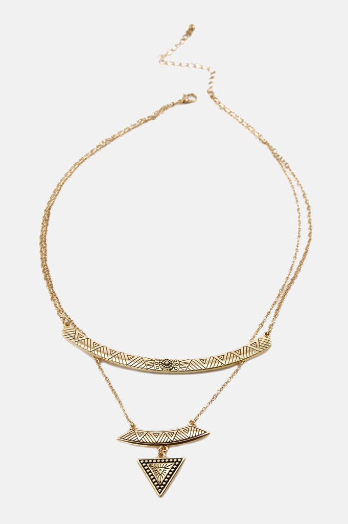 One More Chance Vintage - Delia's Triangle Layer Necklace in Gold