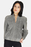 One More Chance Boutique - Vintage Walk Away Suede Leather Bomber Jacket