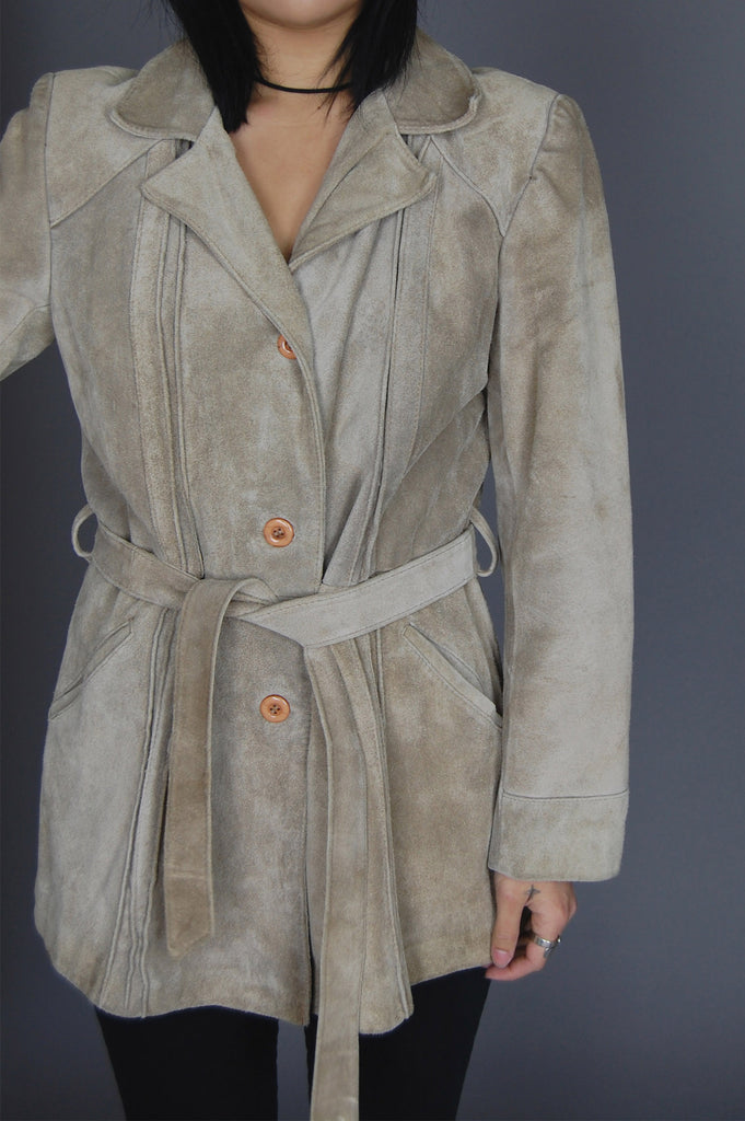 One More Chance Vintage - Vintage Kickin' Up Dust Belted Suede Leather Jacket