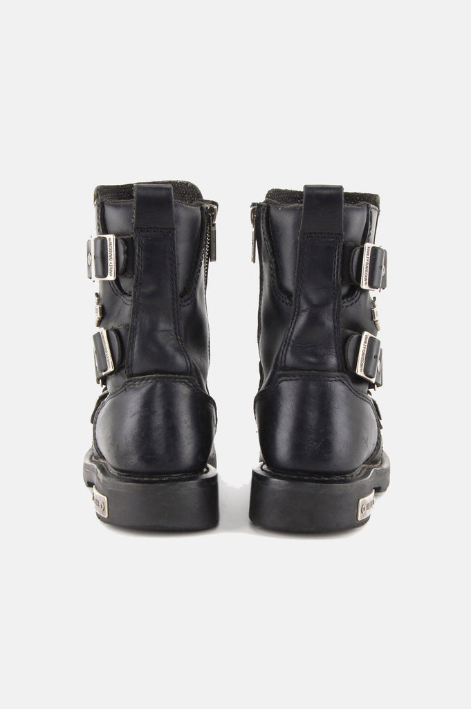 One More Chance Vintage - Vintage Buckle Up Harley Davidson Leather Ankle Boots