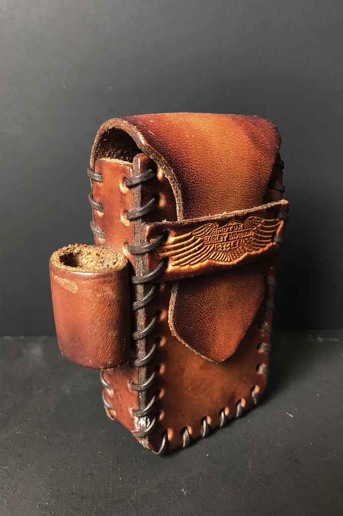 One More Chance Vintage - Vintage Harley Davidson Leather Belt Case