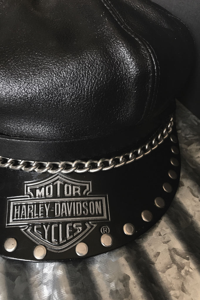 One More Chance Vintage - Vintage Harley Davidson Chained & Studded Leather Hat