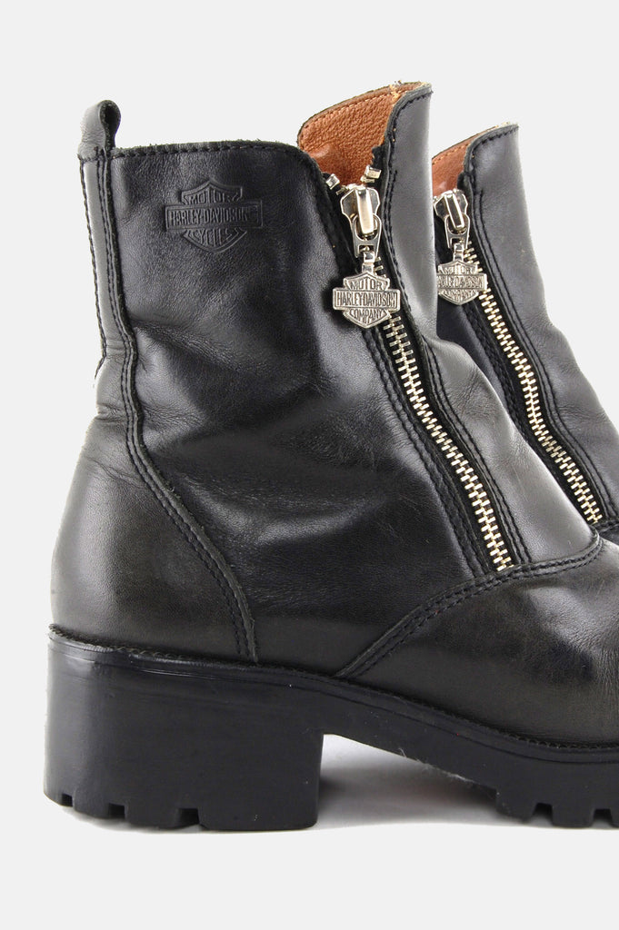 Zip It Harley Davidson Leather Ankle Boots