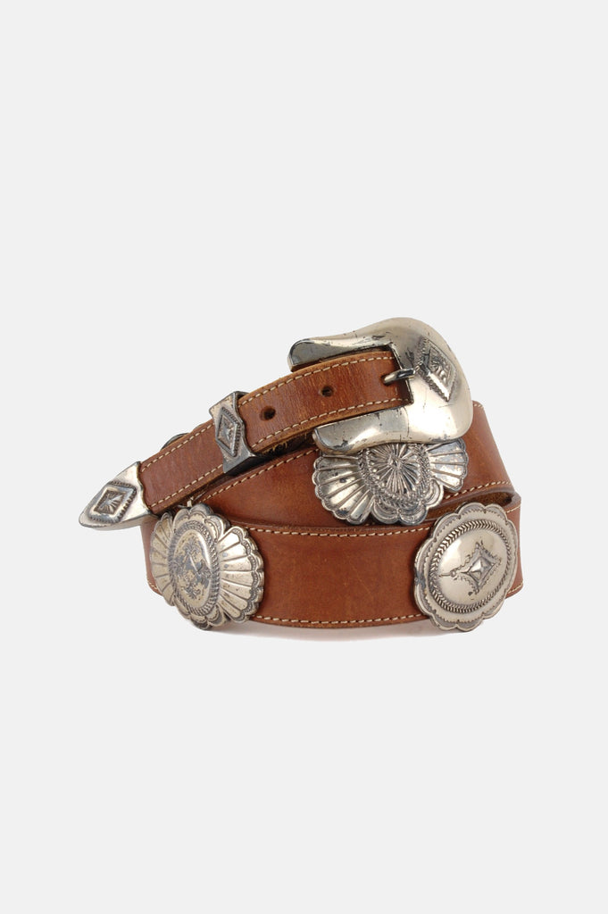 All Or Nothin' Concho Studded Leather Belt