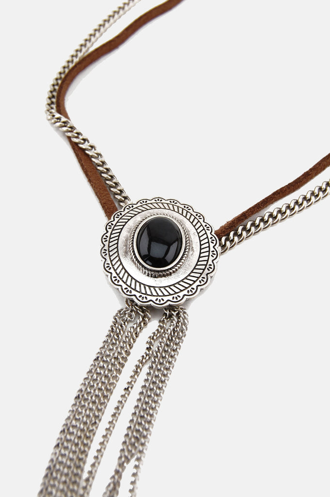 One More Chance Vintage - Leather Chained Concho Necklace in Black