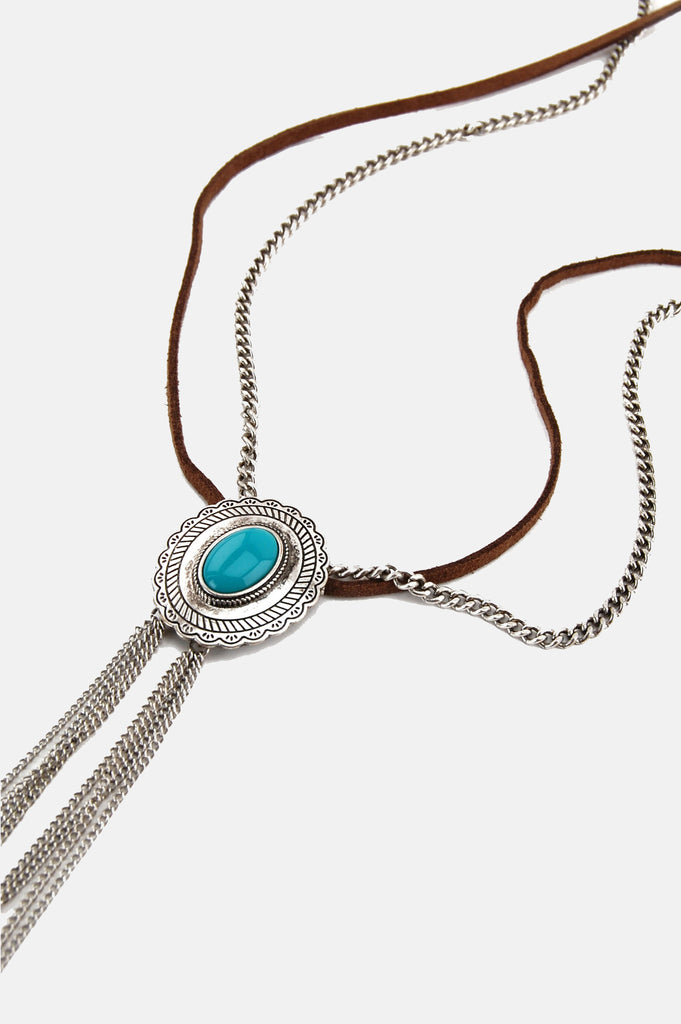 One More Chance Boutique - Leather Chained Concho Necklace in Turquoise