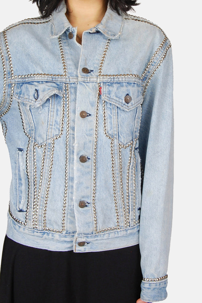 One More Chance Vintage - Vintage Wild One Levi Denim Studded Jacket