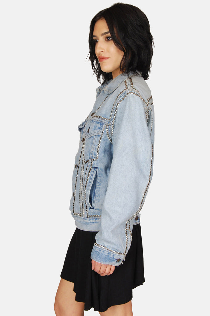 One More Chance Boutique - Vintage Wild One Levi Denim Studded Jacket