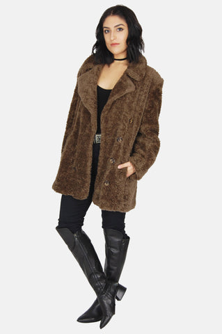 One More Chance Vintage - Vintage Lookin' Good Braetan Chunky Faux Fur Jacket