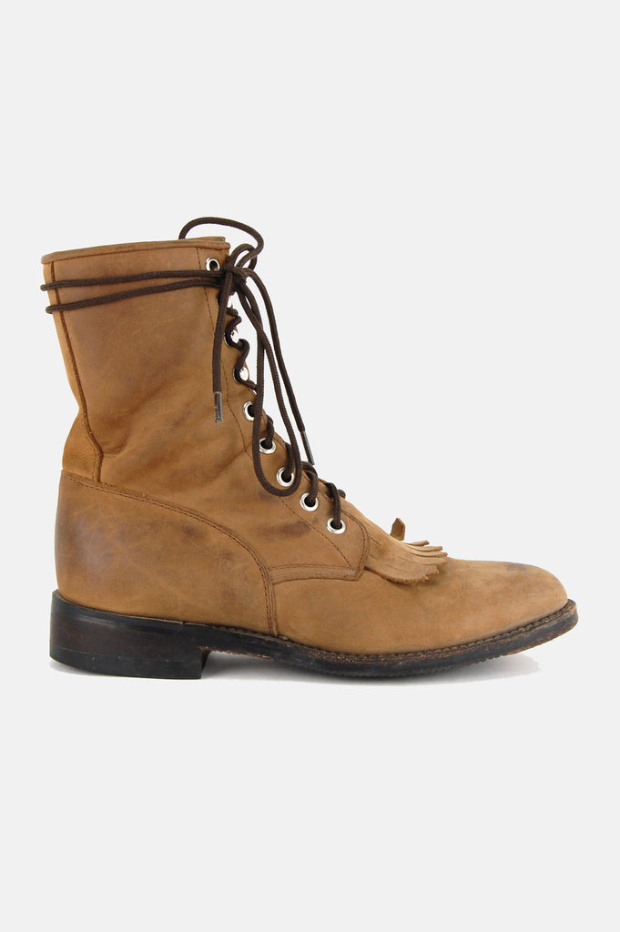One More Chance Vintage - Vintage Dan Post Leather Lace Up Justin Boots