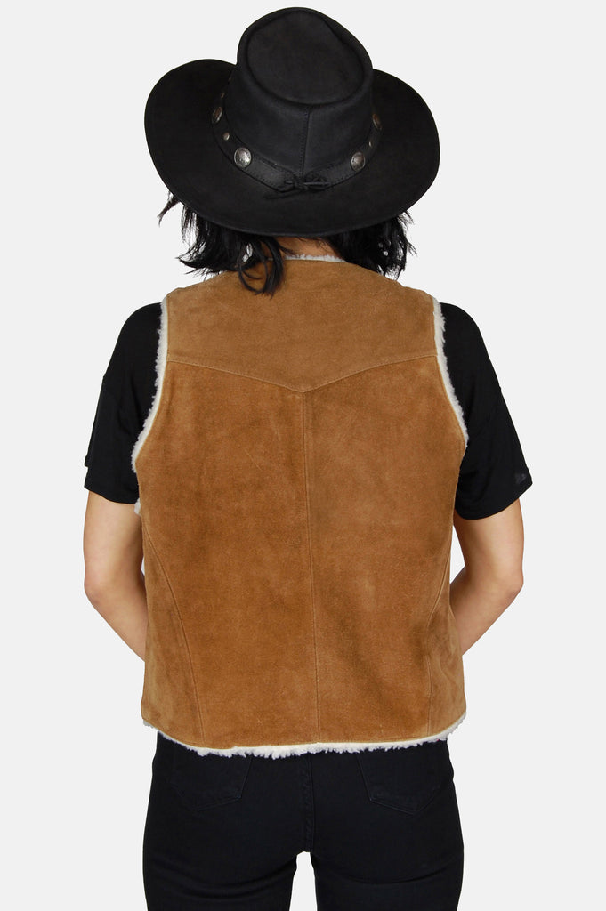 One More Chance Boutique - Vintage Saguaro West Suede Leather Shearling Vest