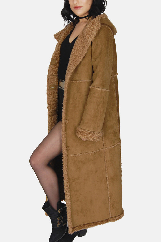 Wintertime Love Hooded Shearling Suede Coat