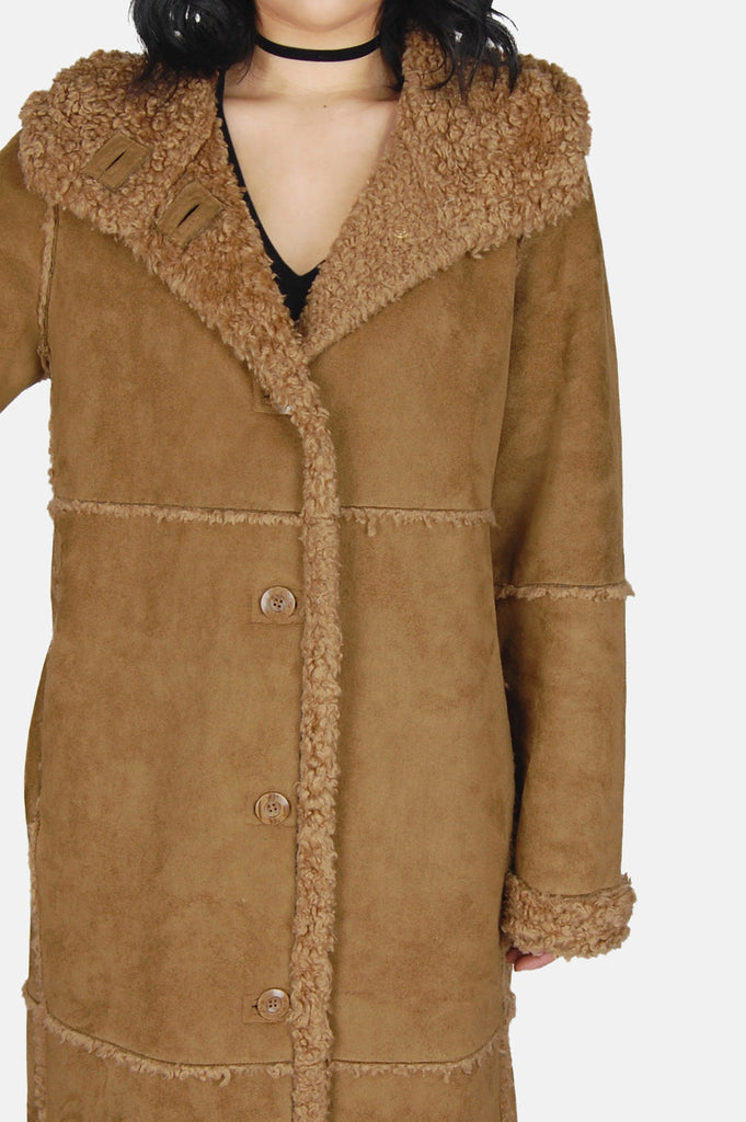 One More Chance Vintage - Vintage Wintertime Love Hooded Shearling Suede Coat