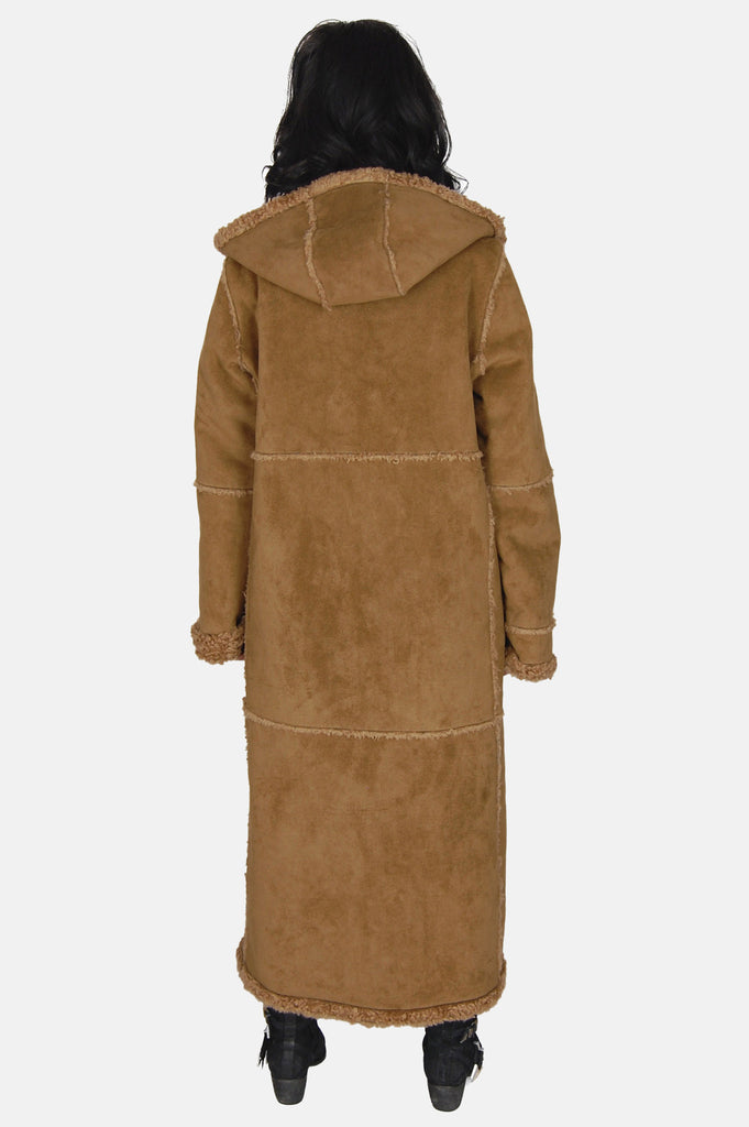 Wintertime Love Hooded Sherpa Suede Coat - One More Chance - 5