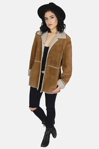 One More Chance Vintage - Vintage Country Girl Sherpa Suede Leather Jacket