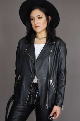 Maje Biker Lamb Leather Moto Jacket