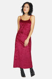 One More Chance Vintage - Vintage Maroon Crushed Velvet Spaghetti Strap Maxi Dress