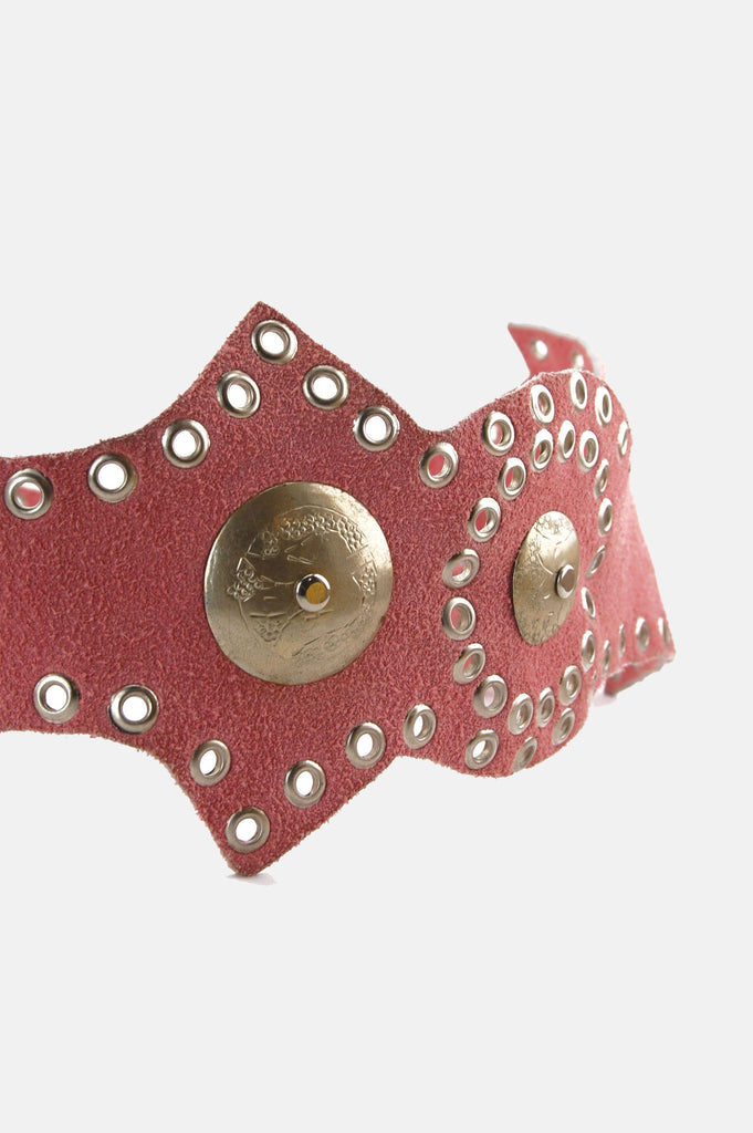 One More Chance Vintage - Vintage Pink Baby Suede Leather Eyelet Cutout Concho Belt