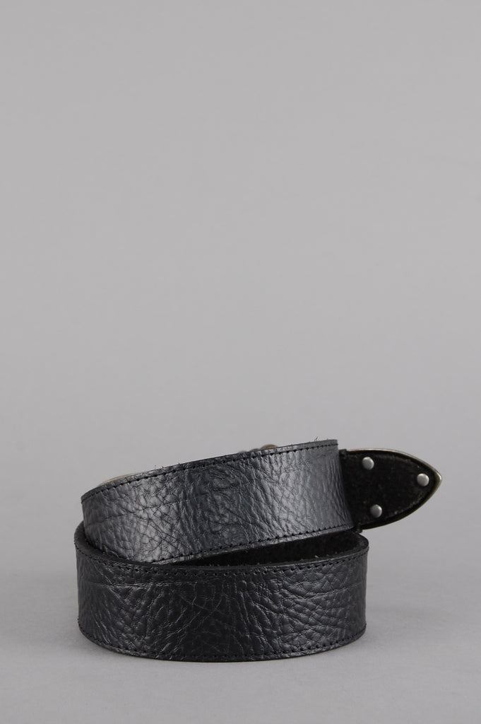 Night Walks Antique Silver Pebbled Leather Belt