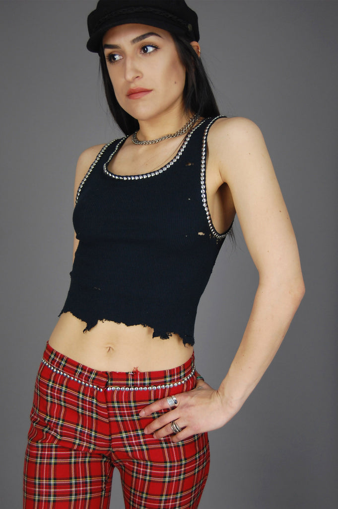 One More Chance Vintage - Punk Rock Lies Black Cut Off Studded Distressed Crop Tank