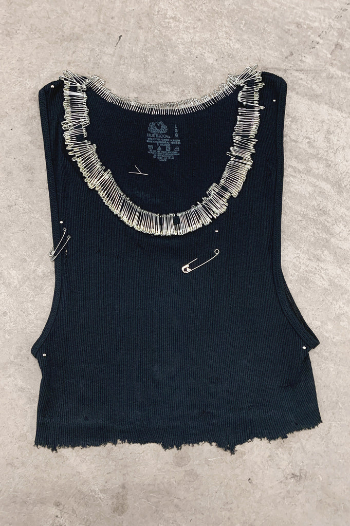 Punk Rock Lies Cutoff Pinned & Studded Crop Tank Top 032 in Black - One More Chance Vintage