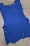 Punk Rock Lies Cutoff Pinned & Studded Crop Tank Top 029 in Blue - One More Chance Vintage