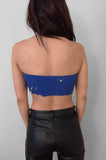 Punk Rock Lies Studded & Pinned Underboob Crop Tube Top Tank 091 in Blue - Small - One More Chance Vintage