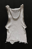 One More Chance Vintage - Punk Rock Lies Vintage Cut Off Studded Distressed Tank 011 - White