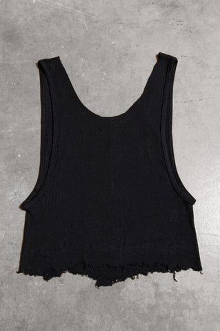 Punk Rock Lies Distressed Cut Off Crop Tank Top 046 in Black - Large - One More Chance Vintage