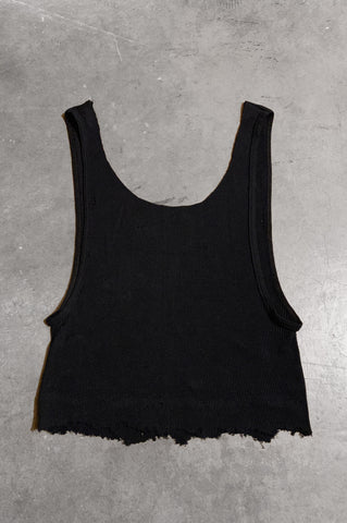 Punk Rock Lies Distressed Cut Off Tank Top 047 in Black - Large - One More Chance Vintage