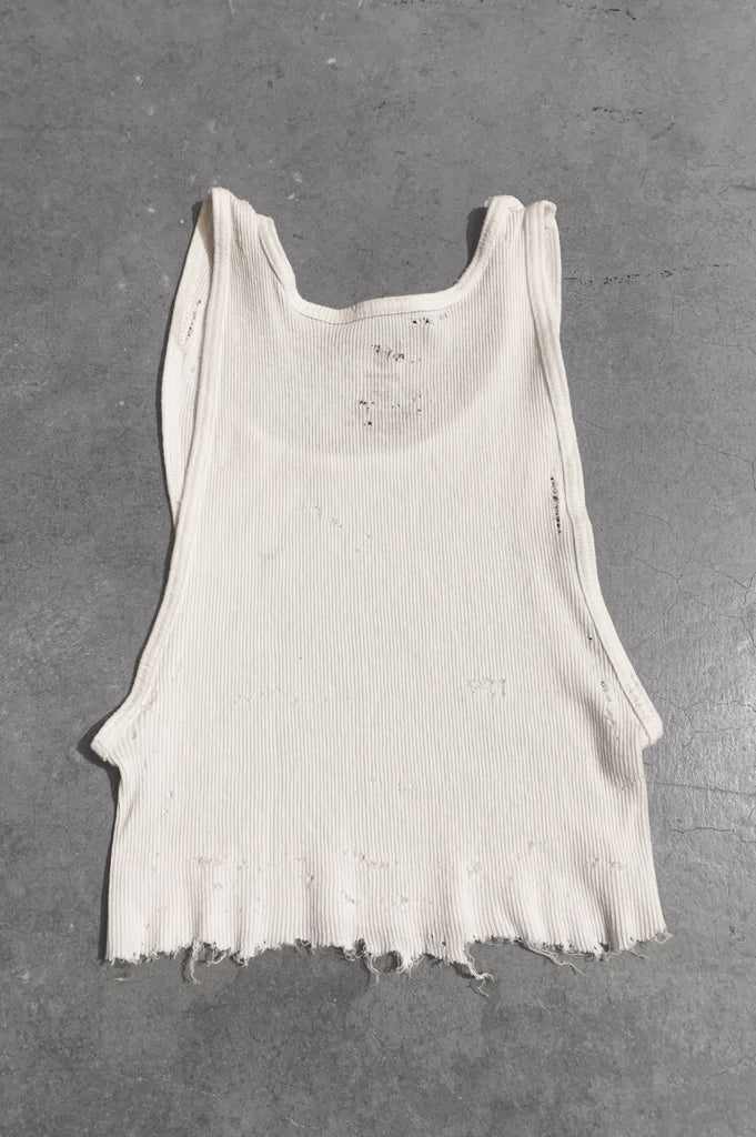 Punk Rock Lies Distressed Cut Off Crop Tank Top 059 in White - Large - One More Chance Vintage
