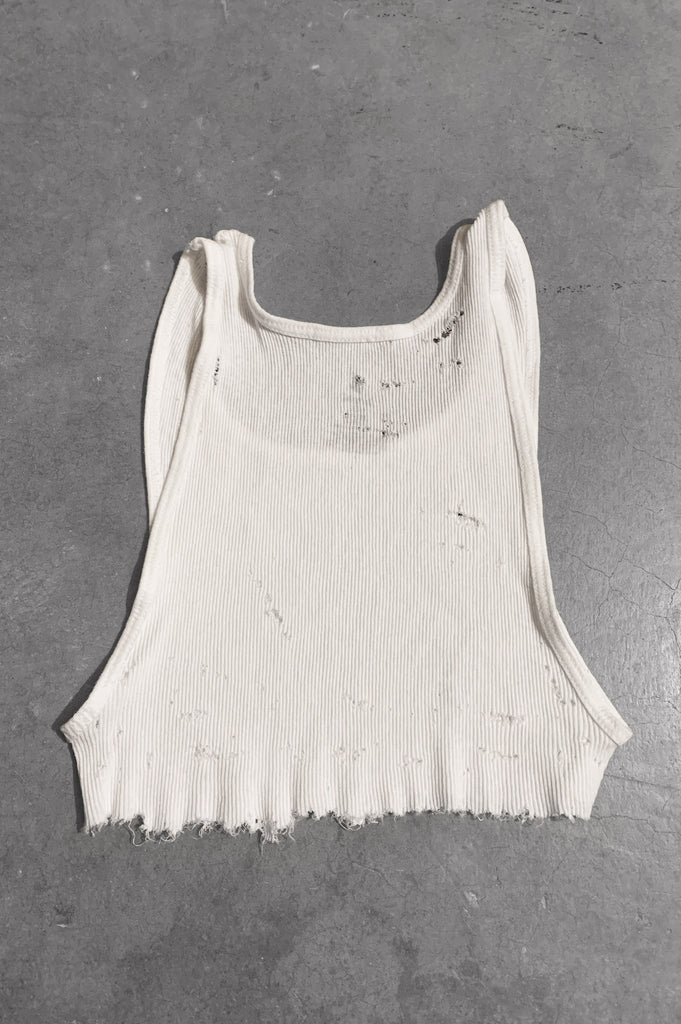 Punk Rock Lies Distressed Cut Off Underboob Crop Tank Top 060 in White - Large - One More Chance Vintage