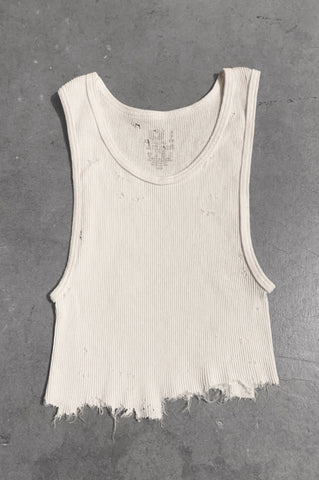 Punk Rock Lies Distressed Cut Off Crop Tank Top 061 in White - Small - One More Chance Vintage