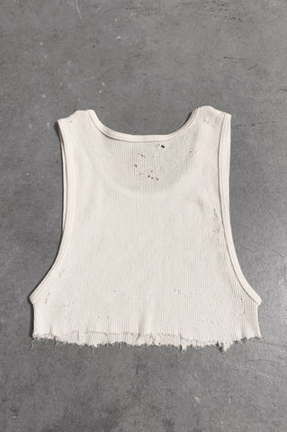 Punk Rock Lies Distressed Cut Off Underboob Crop Tank Top 062 in White - Medium - One More Chance Vintage