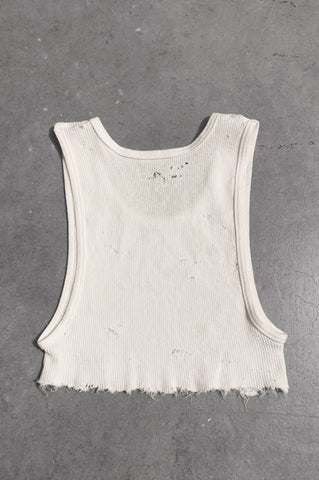Punk Rock Lies Distressed Cut Off Underboob Crop Tank Top 063 in White - Small - One More Chance Vintage