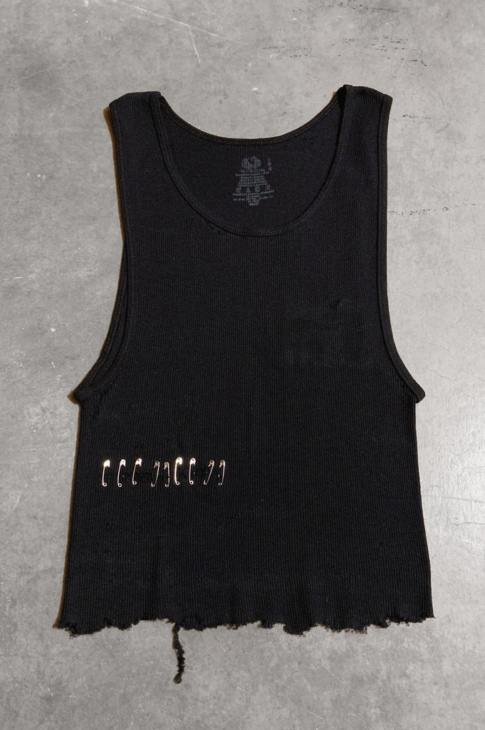 Punk Rock Lies Distressed Cut Off Pinned Tank Top 045 in Black - Large - One More Chance Vintage