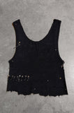 Punk Rock Lies Distressed Cut Off Studded & Pinned Crop Tank Top 044 in Black - Small - One More Chance Vintage