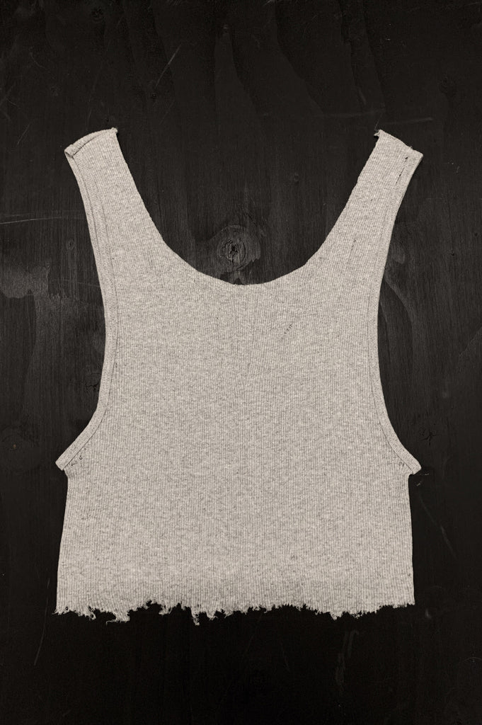Punk Rock Lies Cutoff Distressed Tank Top 035 in Gray - One More Chance Vintage