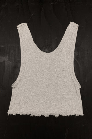 Punk Rock Lies Cutoff Distressed Tank Top 037 in Gray - One More Chance Vintage