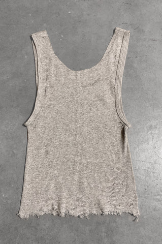 Punk Rock Lies Distressed Cut Off Tank Top 055 in Gray - Small - One More Chance Vintage