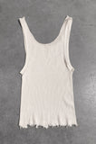 Punk Rock Lies Distressed Cut Off Tank Top 056 in White - Small - One More Chance Vintage